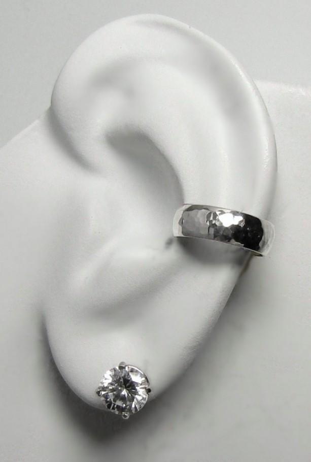 Ear Cuff Silver Ear Cuff Non Pierced Cartilage Wrap Earring Fake Conch No Piercing Cuff Earring Faux Pierced Hoop Domed Hammered Eldsshm