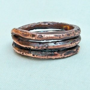 "Copper Spiral Coil Ring Size 7 ""A"" Hand Forged"