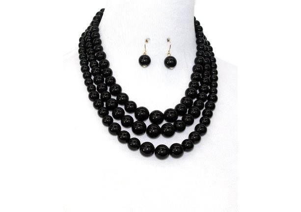 Black Pearl Multi strand Necklace Set