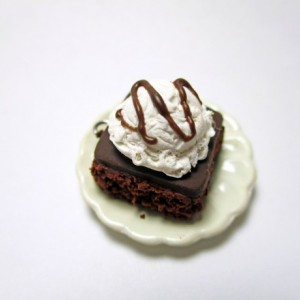 Brownie Ala Mode earrings, Brownie Charm, Ice Cream, Hot Fudge, Miniature Brownie, Brownie Sundae, Hot Fudge Brownie, Earrings