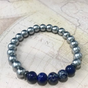 The Tyson | handmade beaded stretch bracelet, silver hematite, blue sea sediment jasper, gunmetal steel, men's / unisex, Gifts for Him