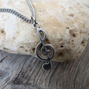 Men's Necklace - Men's Treble Clef Necklace - Men's Silver Necklace - Men's Jewelry - Men Necklace - Boyfriend Gift - Guys Necklace