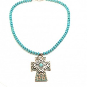 Boho Western Turquoise Cross Necklace