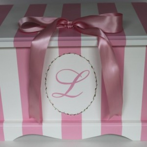 Keepsake chest memory box personalized - Pink Stripe Monogram baby gift