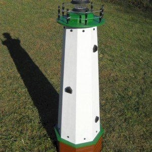 "48"" Solar lighthouse wooden well pump cover decorative garden ornament - green accents"