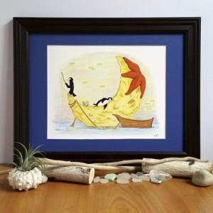 Whimsical Penguin Art; Fine Art Print, Moon and Sea, Fishing Animals, Fantasy Ocean Decor, Magic Night Sky, Starfish Illustration