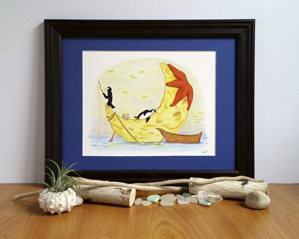 Whimsical Penguin Art; Fine Art Print, Moon and Sea, Fishing Animals, Fantasy Ocean Decor, Magic Night Sky, Starfish Illustration