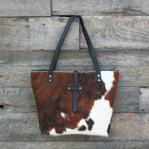 Hair on Hide and Black Leather Handbag - Abilene Tote by Beaudin