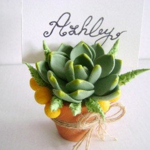 Succulent Place Card Holder Wedding Escort Card Wedding Favor Party Decoration Clay Succulent Rustic Wedding Decor Set of 10 Made to Order