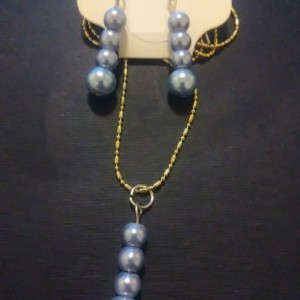 Blue Glass Pearl Beaded Jewelry