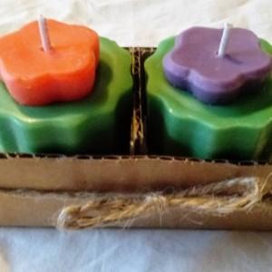 Two 2.5 oz mini-magnolia handmade purple and orange scallop-edged soy votive candles
