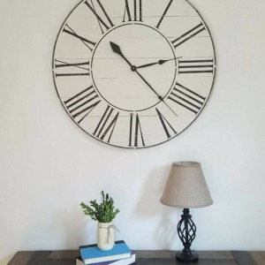 Antique White Farmhouse Clock- Decorative clock-Wood clock- Wall clock-Distressed Clock-Roman Numeral clock-Rustic clock-white Clock