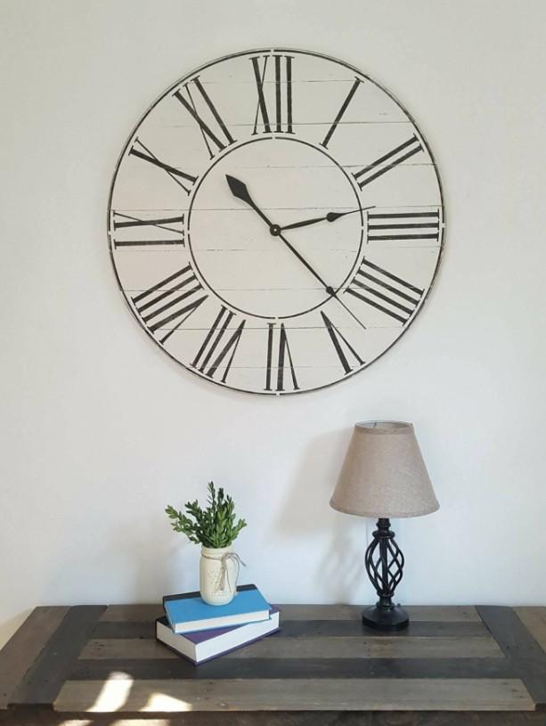 Antique White Farmhouse Clock- Decorative clock-Wood clock- Wall clock-Distressed Clock-Roman Numeral clock-Rustic clock-white Clock