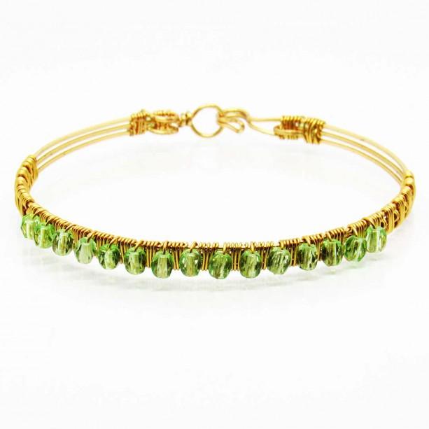 IRJ Vegas Lights Peridot and Gold Wire Bangle Bracelet