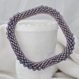 Purple Iris Square Bead Crochet Bangle