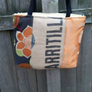 Color block Burlap Tote
