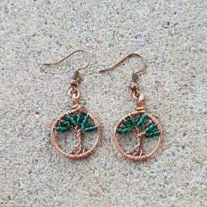 Tree of life miniature earrings in dark green