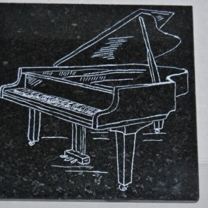 Engraved Black Granite Tile