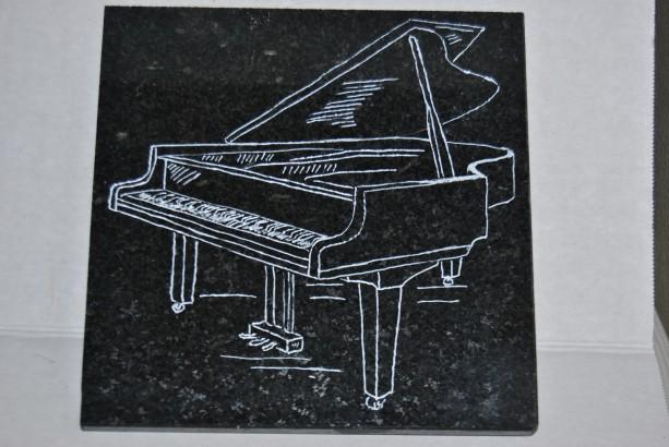Engraved Black Granite Tile
