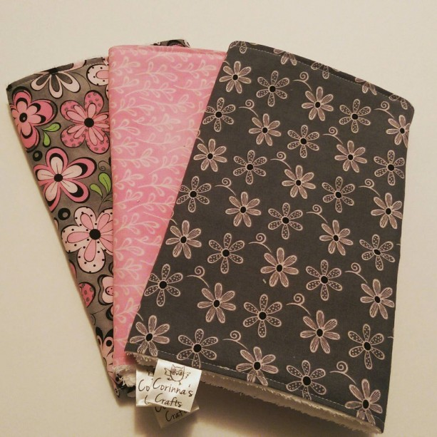 Burp Cloths Cute Floral Black,  Grey & Pink, Baby Gift, Baby Shower Gift, Feeding Burp Cloths, Burp Rags, Diaper Rags, Spit Rags,  Baby Girl