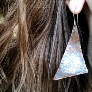 Asymmetrical Rustic Oxidized Hammered Copper Dangle Drop Earrings