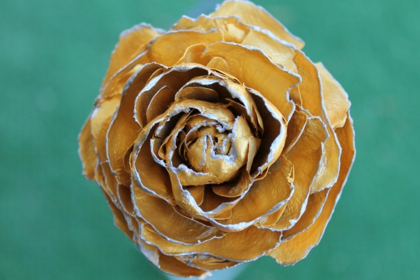 Gold Green Hand-Painted Cedar Rose Pine Cone Flower