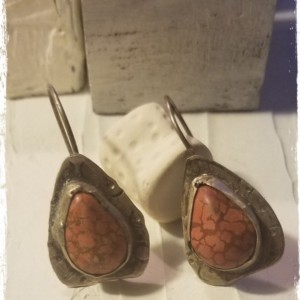 Rustic Red Howlite and Sterling Earrings