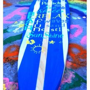 Surfs Up - Sunshine - Relax- Hanging Wall Surfboard Sign - Beach Decor