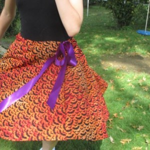 Halloween Bat Skirt Handmade Drawstring Ribbon Witches Skirt Halloween Holiday Skirt sizes 0-16