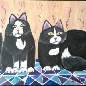 ORIGINAL CAT PAINTING - Tuxedo Cats - acrylic cat painting - 8 x10 inch cat art -primitive style cat artcat lover easter, free shipping