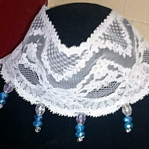 White Lace Necklace with Blue Crystals. Something Blue Lace Necklace