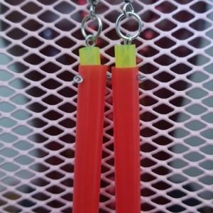 Red Straw Earrings
