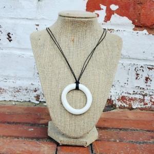 Minimalist porcelain pendant in glossy white