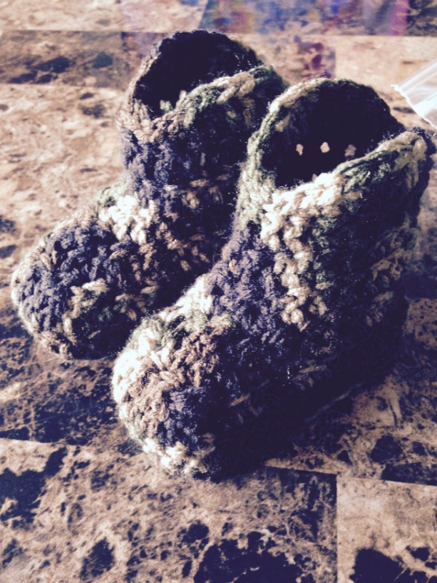 0/6 Month Camo Crocheted Unisex Baby Cowboy Boots