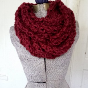 Marsala Wool Infinity Scarf 50% Soft Wool, Red Loop Scarf, Burgundy Cowl Scarf, Knit Scarf