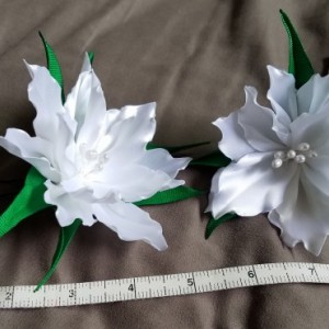 2 White Lily hairpins