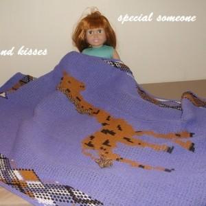 Machine knit afghan of giraffe
