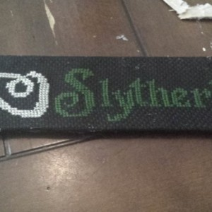 Slytherin Crossstitched Bookmark