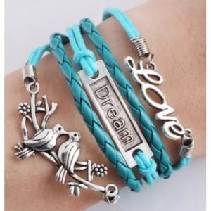Infinity bracelet LOVE, dream lovebirds in blue and silver