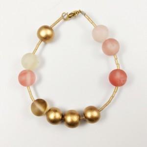The Antoinette   handmade matte cherry quartz bracelet, gold wood beads, frosted gold, Gifts for Her
