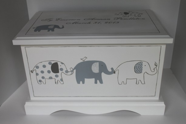 Grey Patterned Elephants - baby keepsake chest memory box personalized baby gift