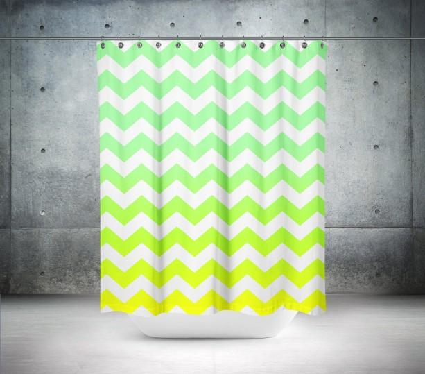 Gradient Green Chevron Shower Curtain