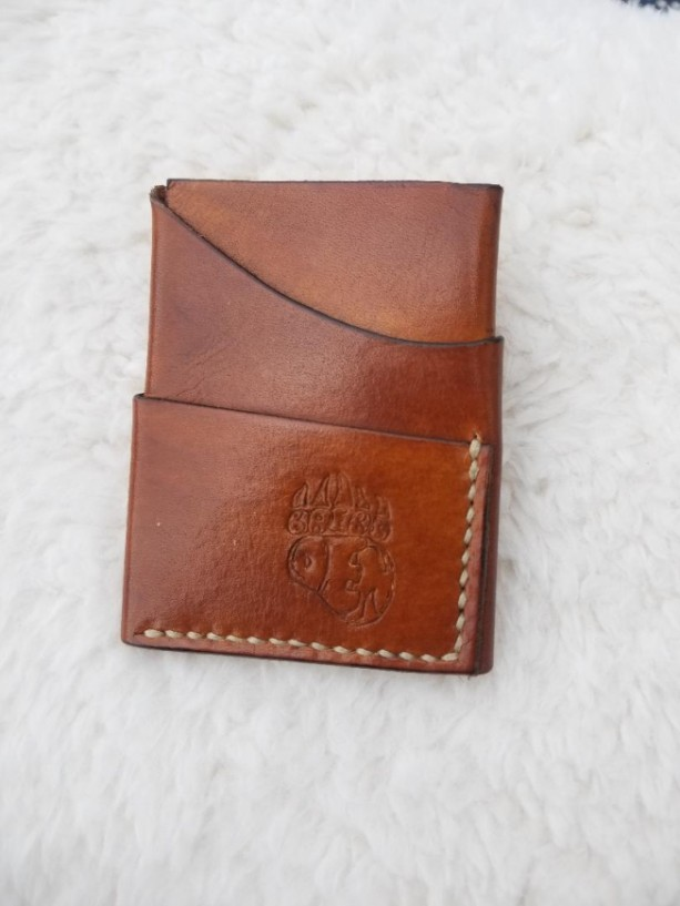 Leather Card Wallet Light brown with cream colored thread