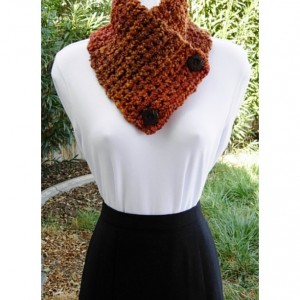 Chunky NECK WARMER SCARF Buttoned Cowl, Dark Burnt Orange Brown Rust Gold Multicolor, Extra Soft, Thick Crochet Knit, Wood Buttons..Ready to Ship in 3 Days