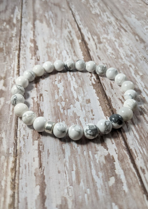 The Remy | handmade beaded bracelet, polished white howlite beads, silver Mykonos ceramic, men's / unisex jewelry, Gifts for Him