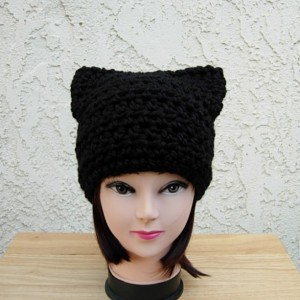 Solid Black Cat Hat with Ears, Size Options, Soft Warm Thick Chunky Bulky Wool Winter Crochet Knit Women's Men's Beanie, Ready to Ship in 3 Days