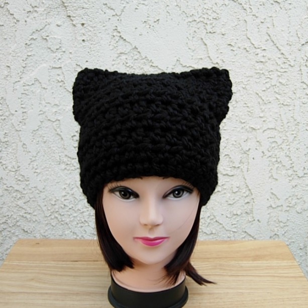 d3271516bf8 Thick Warm Winter Solid Black Cat Hat with Ears