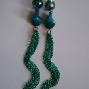 Teal dangly earrings