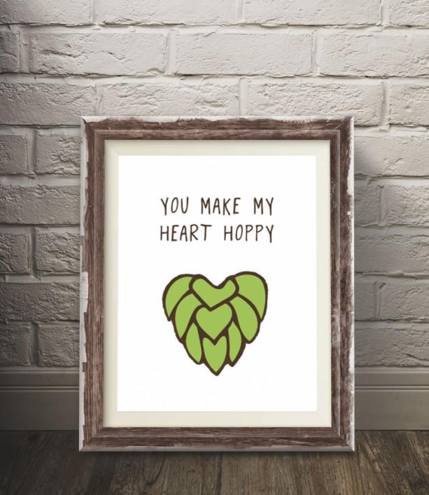 Hoppy Heart Beer Poster