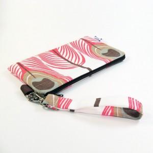 Medium Wristlet Zipper Pouch Clutch - Coral Peacock